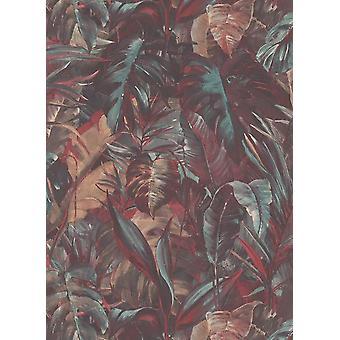 Red Florescent Jungle Wallpaper Deco Discount Tropical Leaves Orange Green Vinyl