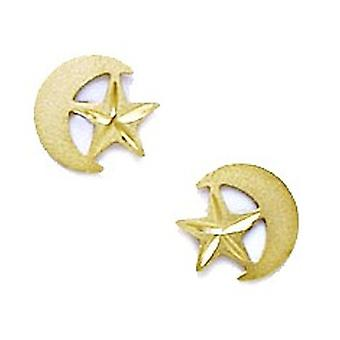 14k Yellow Gold Crescent and Star Stamping for boys or girls Earrings Measures 7x8mm