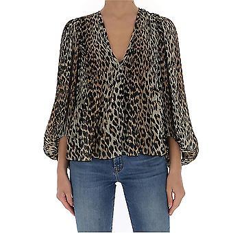 Ganni F4472943 Women's Leopard Silk Blouse