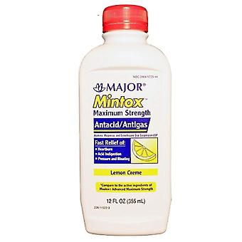 Major mintox antacid/antigas, maximum strength, lemon creme, 12 oz