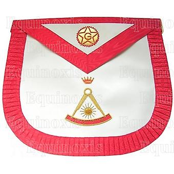 Satin masonic apron – french chapter – 2nd order – compass – rounded corners