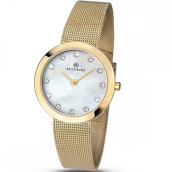 Accurist Ladies Round Stone Set Mother Of Pearl Dial Gold Bracelet Watch 8127