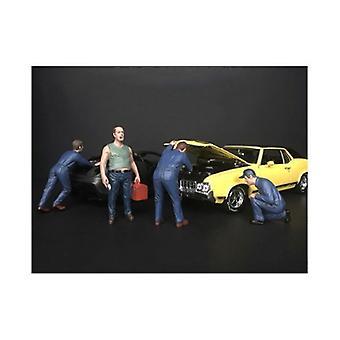 Figurine mécanique classique 4 pièces pour modèles à l'échelle 1/18 par l'américain Diorama