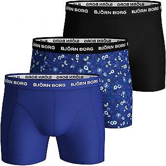 Bjorn Borg 3-Pack LA Flowers Print & Solid Boxer Trunks, Blue/black
