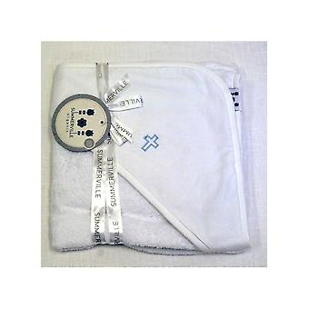 Bath Cape / Towel With Baby Blue Cross For Orthodox Baptism - Grace Of Sweden