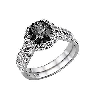 14K wit goud 2,50 CTW Black Diamond Ring met diamanten Halo Double natuurlijke Schenkel