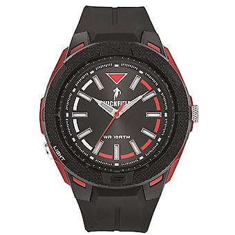 Watch Ruckfield 685085 - Bo tier Silicone Analog Watch Red Plastic Bracelet Black Dial Black Men