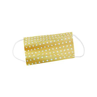 Mio HB4 Yellow and White Polka Dot Cotton Face Mask with Removable Filter and Nose Wire