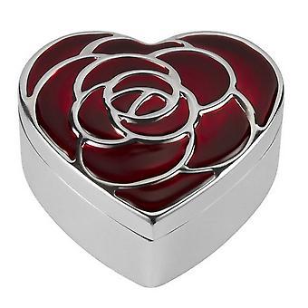 Orton West sydämen Rose Trinket Box - hopea/punainen
