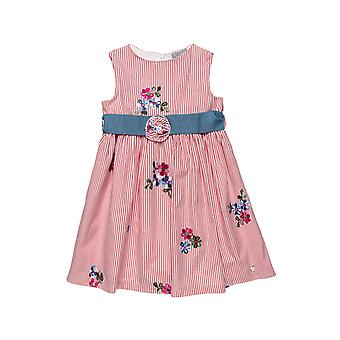 Alouette Girls' Striped Dress With Embroidered Flowers And Removable Belt