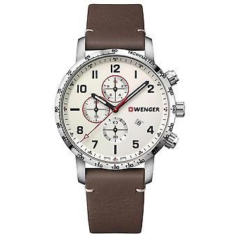 Wenger Attitude Quartz Cream Dial Brown Leather Strap Chronograph Men's Watch 01.1543.113