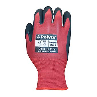 Polyco 8897 Grip It SL Knitted Nylon Glove with Sponge Latex Coating Size 10