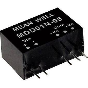 Mean Well MDD01N-09 DC/DC converter (module) 56 mA 1 W Nr. uitgangen: 2 x