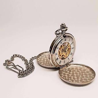 Tono d'argento antico scheletro meccanico stile meccanico a due porte orologio da tasca