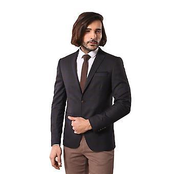 Mens plaid handkerchief pocket woolen brown blazer