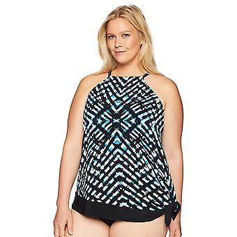 الساحلية الأزرق المرأة & apos;ق زائد حجم التحكم ملابس السباحة Tankini الأعلى, الزجاج الملون, 3 ...