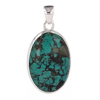 ADEN 925 Sterling Silver Turquoise Oval Shape Pendant Necklace (id 4107)