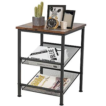 3-Tier Coffee End Table Nightstand Storage Shelves Living Room Office Furniture