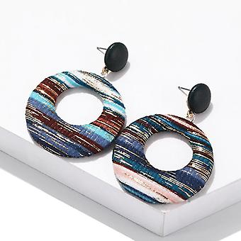 Brincos de círculo boho de design europeu azul