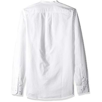Goodthreads Men's Slim-Fit Long-Sleeve Band-Collar Oxford Shirt, -white, X-La...