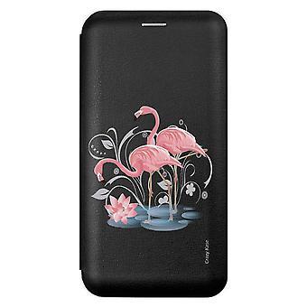 Faltschacht für Samsung Galaxy A21s Schwarzes Muster Flamingo Rosa