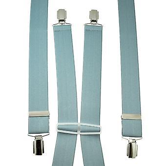 Ties Planet Plain Light Grey Men's Trouser Braces - Clip d'argento