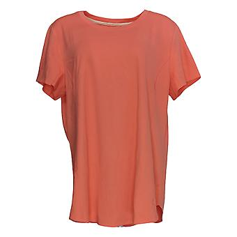 Isaac Mizrahi Live! Women's Top Essentials Pima Cotton Seamed Pink A379609
