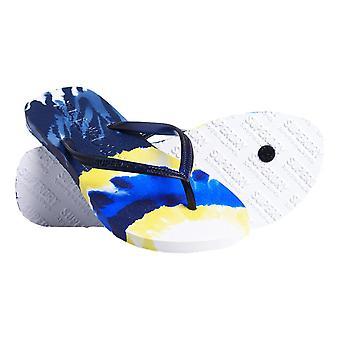 Superdry Super Sleek All Over Print Flip Flops - Navy Tie Dye
