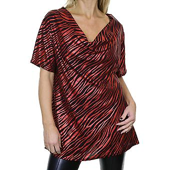 Women's Cowl Neck Animal Print Tunic Top Ladies Glitter Sheen Tiger Zebra Print Loose Stretch Short Sleeve Party Evening Blouse Red 10-18