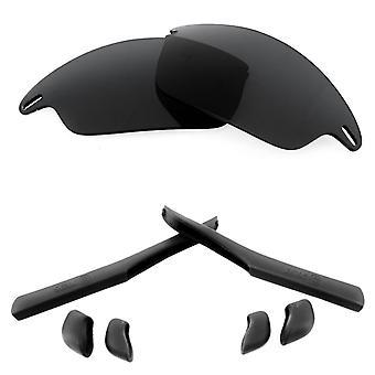 オークリーファストジャケットブラックアンチスクラッチアンチグレアUV400シークオティックスによる偏光交換レンズ&キット