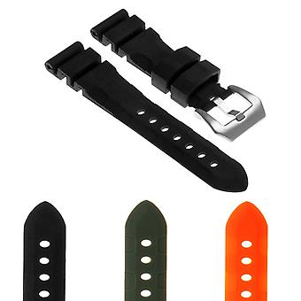 Strapsco rubber-watch-strap-with-brushed-stainless-steel-pre-v-buckle