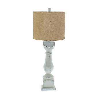 Distressed White Traditional Table Lamp with Brown Linen Shade
