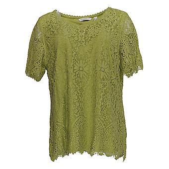 إسحاق مزراحي لايف! Women & apos;s أعلى الأكمام القصيرة V-Neck Knit Lace الأخضر A378743