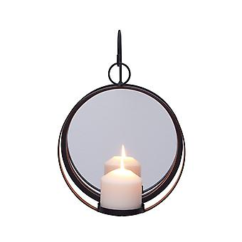 Danya B. Redondo pilar de hierro forjado vela Sconce con espejo rústico metal colgante pared Candleholder