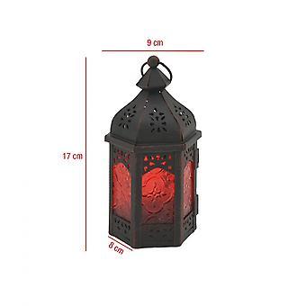 Rebecca Mobili Lanterna Portacandela Etnica Vetro Metallo Nero Rosso 17x9x8