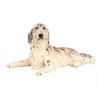 Poppen Huis Zwart & Witte Ierse Setter liggen miniatuur huisdier hond 1:12 Schaal