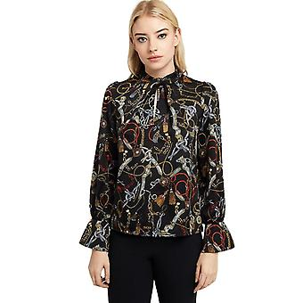 Louche Womens Fatima Blouse Chain Print Long Sleeve Multi