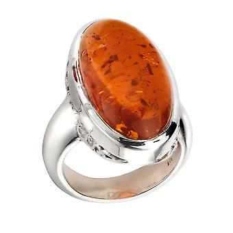 Elementos plata anillo ámbar grande