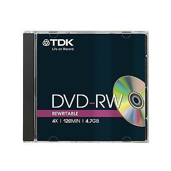 Tdk t18816 4.7gb 4x speed 120min dvd-rw disc in jewel case (pack of 5)