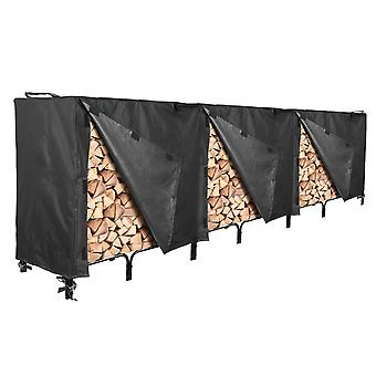 "Outdoor Firewood Log Rack Cover - 144""L x 24""W x 42""H - UV Protected, and Weather Resistant Storage Cover - Black"