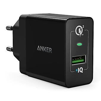 ANKER Plug Charger - PowerIQ / Quick Charge 3.0 Wallcharger AC Home Charger Wall Charger Adapter Black