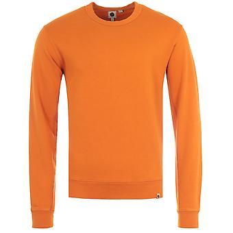 Pretty Green Crinkle Soft Jersey Crew Neck Sweatshirt - Orange