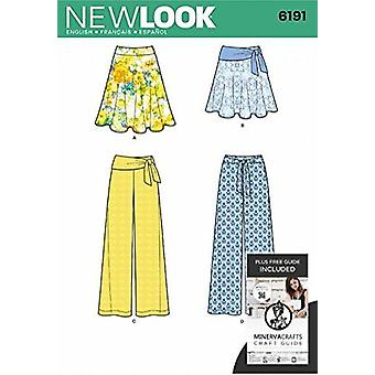 New Look Coudre Modèle 6191 Manque Jupe Pantalon Cravate Ceinture Tailles 8-18