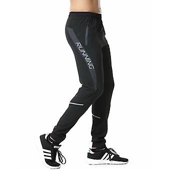 Men Running Pants, Zipper, Reflective Football Soccer Sporting Pant, Training