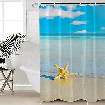 Keltainen meritähti ja sininen merisuihkuverho