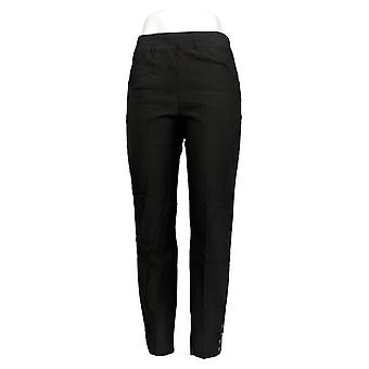Susan Graver Women's Pants Smooth Stretch Pull-On Ankle Black A384285