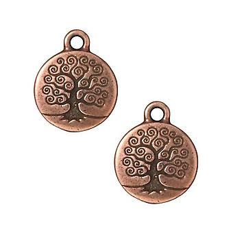 TierraCast koper verguld tin ronde boom van het leven charme 19mm (1)