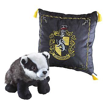 Hufflepuff Cushion with House Mascot Plush from Harry Potter