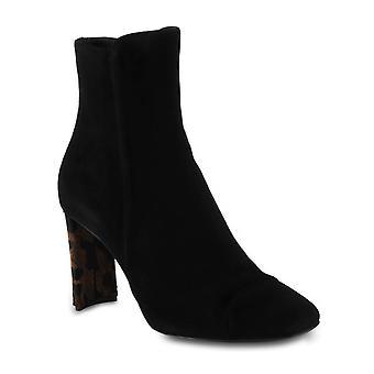 Giuseppe Zanotti Women's ankle boots in black velvet with fine leopard heel