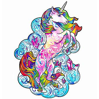 Unicorn Cat Wooden Jigsaw Puzzle Piece Game for Kids and Adults